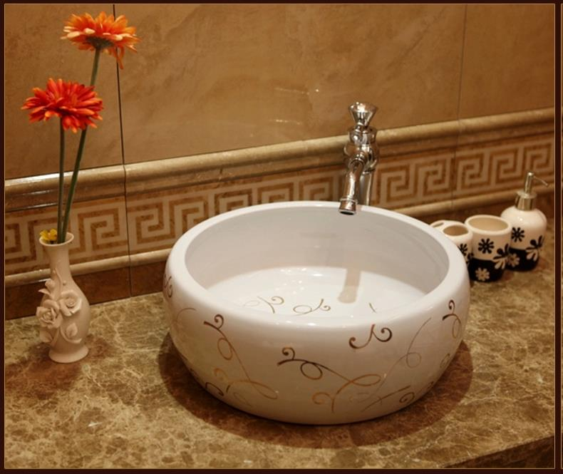 Beautiful Europe Vintage Style Ceramic Art Basin Sinks Counter Top Wash Basin  Bathroom Vessel Sinks Vanities Round