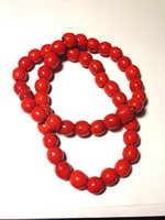 1125 Red Coral Colored Spun Glass Beads Beaded Necklace