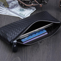 Big Capacity Zipper Money Clip Wallet Clutch Bag Men Purses Genuine Leather Soft Wallets Cell Phone Package Long Male Purse