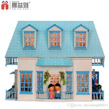 Gifts New Brand DIY Doll Houses Wooden Doll House Unisex 3d dollhouse Furniture Kids Toy Doll House Miniature Kit crafts 130-08