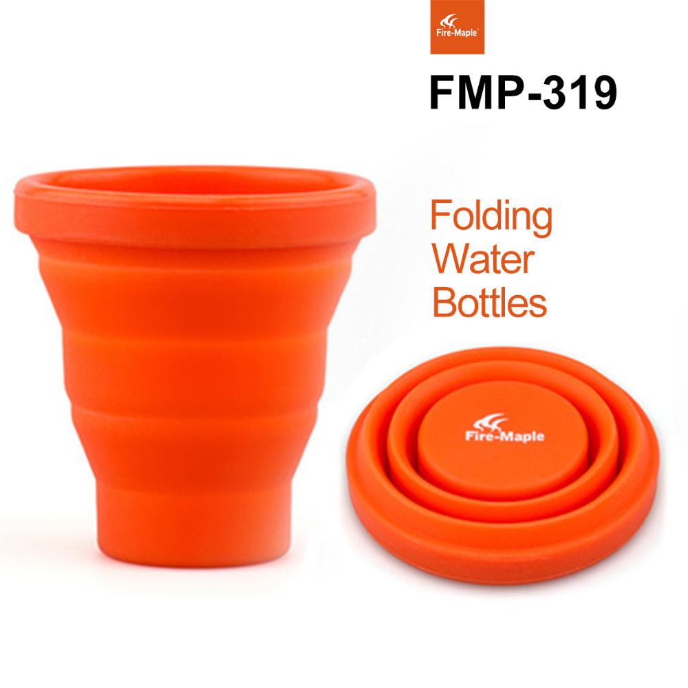 Free Shipping Camping Silicon Folding Mug Portable Outdoor Camping Tableware Cup Bottle Fire Maple FMP-319 200ml 44g