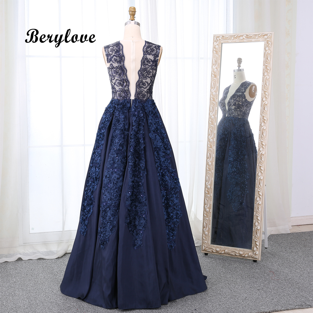 2a9d7e86e4 Luxury Ball Gown Formal Evening Dress Long Elegant V Neck Sequined Lace  Flowers Evening Gowns 2019. US $227.04. BeryLove Sexy Black ...