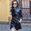 Черный женщин кожаная куртка и пальто косой Искусственная Кожа осень женский корея тонкий cazadoras cuero de mujer abrigos invierno