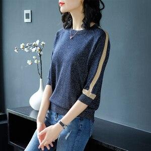 Image 3 - YISU 2019 אביב סוודר נשים קצר שרוול סוודר נשים אופנה בהיר משי סוודרים O צוואר דק חולצות Femme סוודרים סרוגים