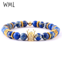 WML Luxury mens fashion bracelet CZ column crown Charms Imperial natural stone beads Bracelets & Bangles for accessories