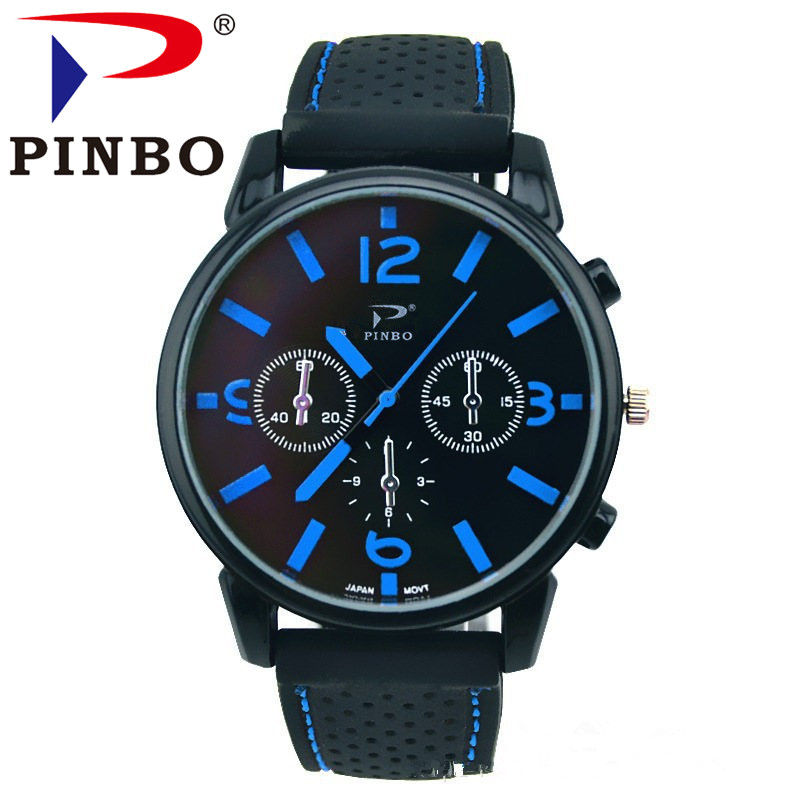 New Brand PINBO Fashion Men Sports Watches Men's Quartz Imitation Hour Date Clock Man Silicone Strap Military Army Wrist watch xonix sport brand fashion men military sports water resistant watches men s quartz clock man silicone strap casual wrist watch