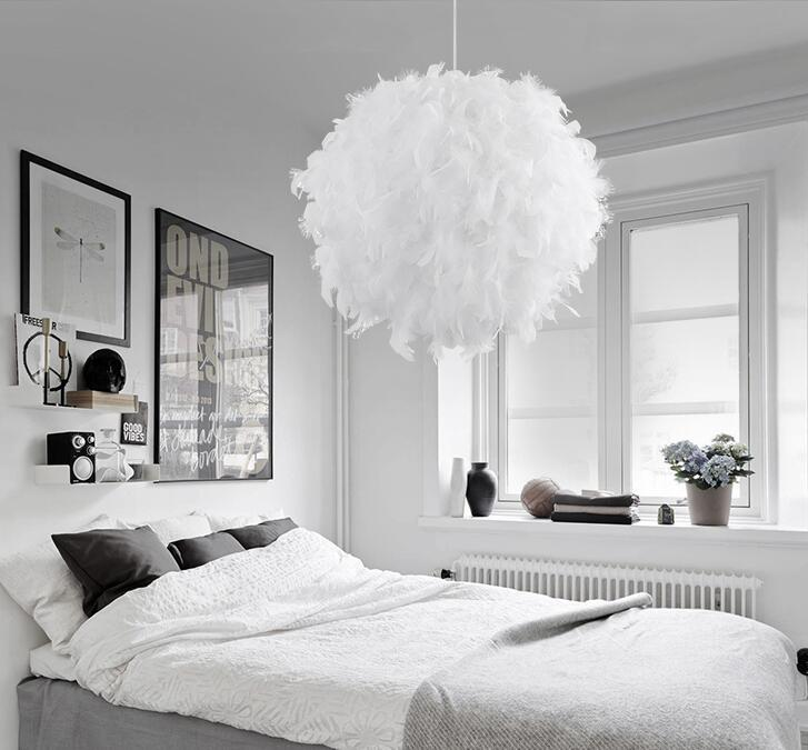 Feather Chandelier Pendant for Bedroom Living Room Decor
