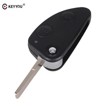 KEYYOU 2 Button Flip Fob Folding Car Key Shell Case for Alfa Romeo 147 156 GT Uncut Blade Car Key Case NO Chip Keyless