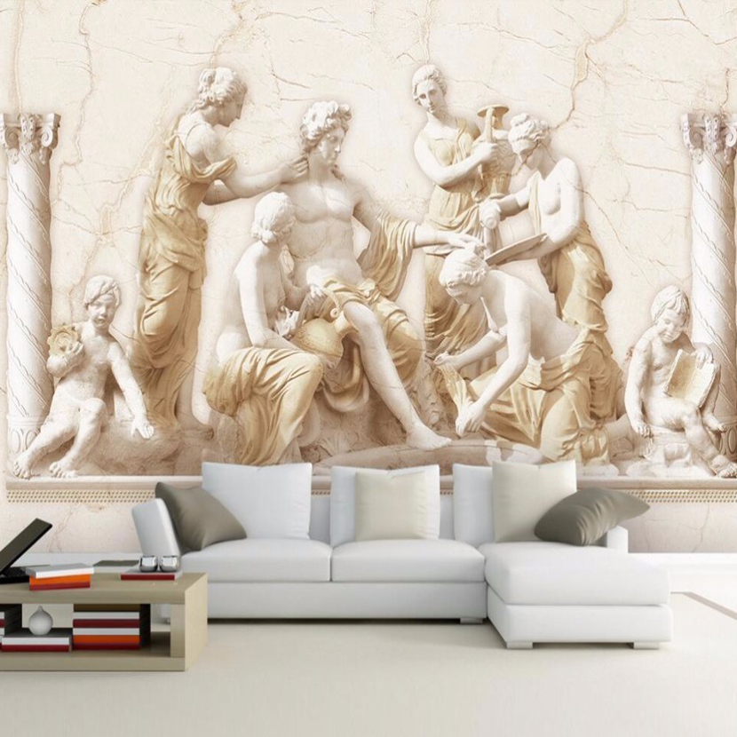 3D Stereoscopic European Roman Statue Wall Mural Wallpaper