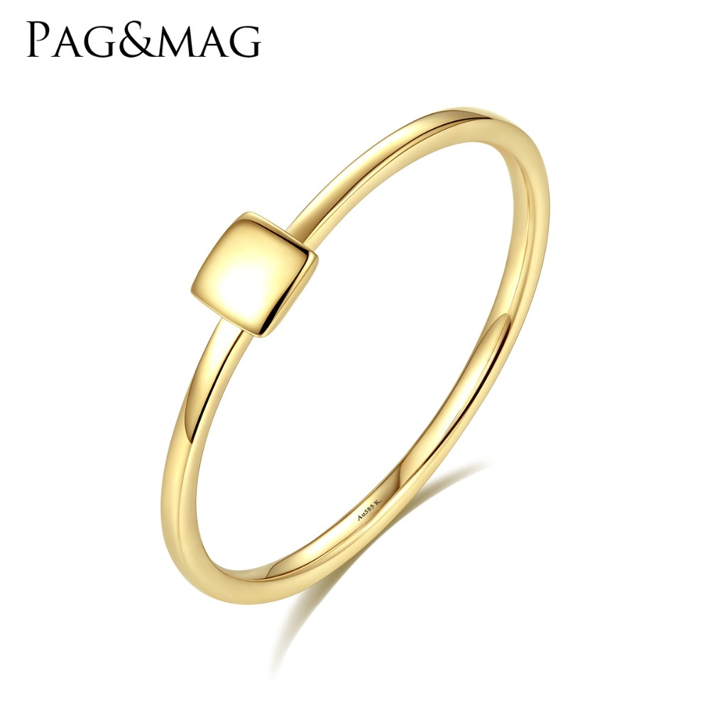 PAG MAG New Luxury Real 14K Yellow Gold Rings for Women Minimalist Au585 Square Design Anniversary