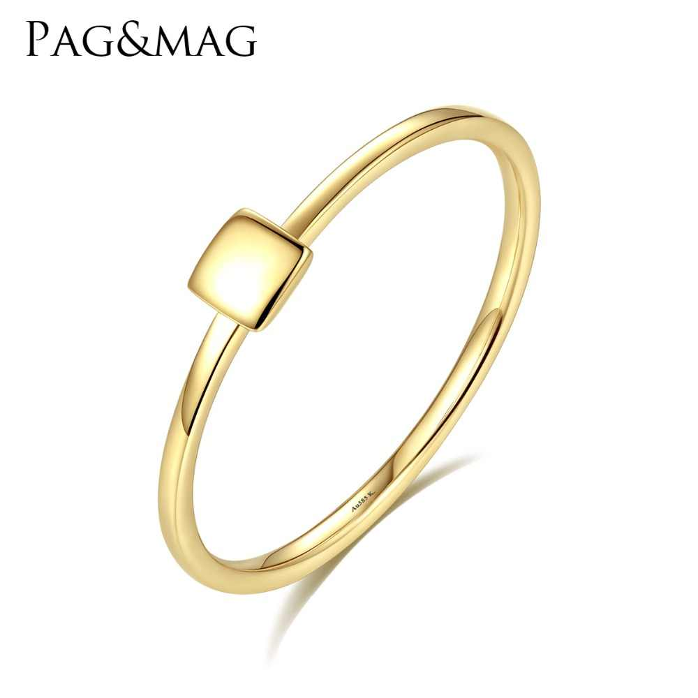 444b965ec PAG&MAG New Luxury Real 14K Yellow Gold Rings for Women Minimalist Au585  Square Design Anniversary Finger