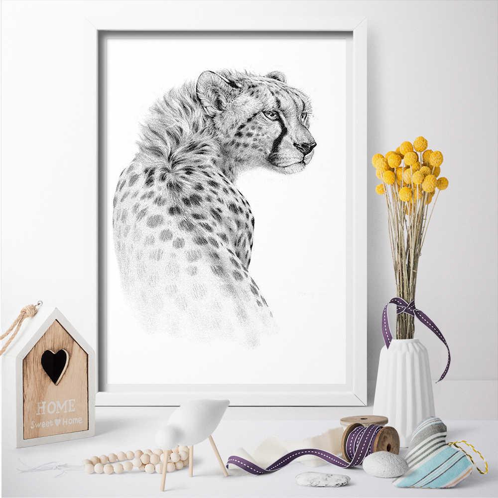 Realistis Cheetah Menggambar Sketsa Kanvas Lukisan Wall Art