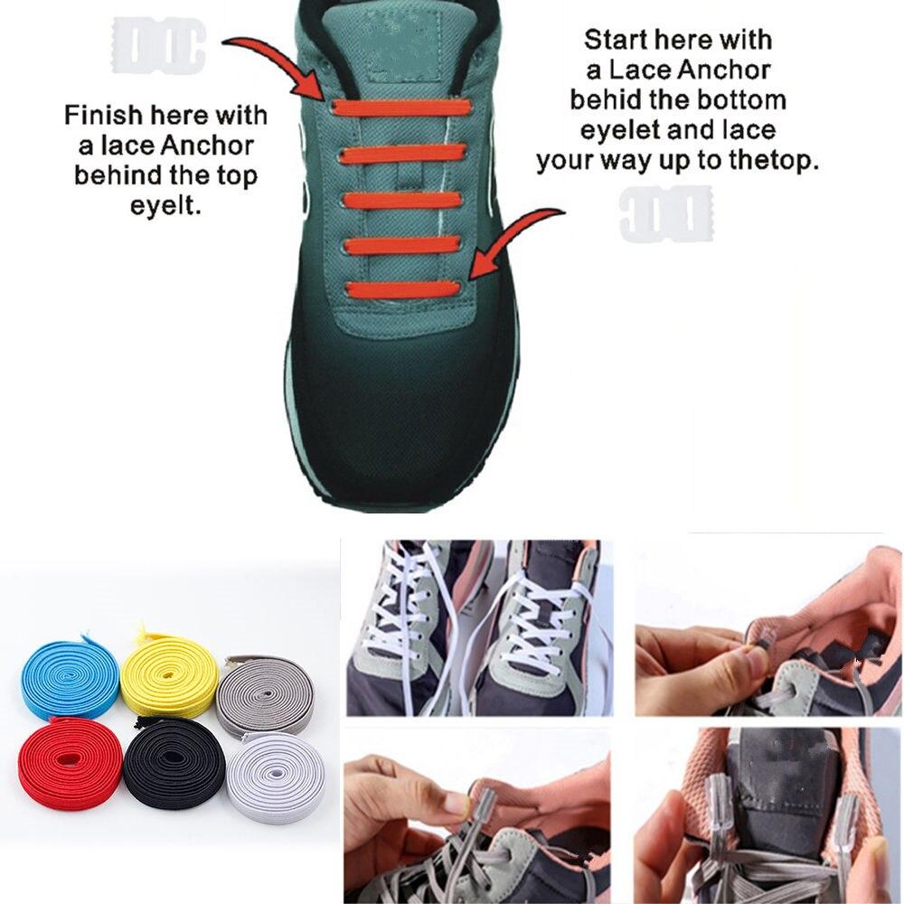 5ee05e63804 Elástico corbata los cordones de los zapatos entrenador deportivo Running  Atlético zapatillas cordones de zapatos DIY fácil de cuerda para hombres y  mujeres ...