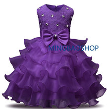 NEW Girl Dress Kids Ruffles Lace Party Wedding Dresses childrens party dress wear clothes for girl blue red purple