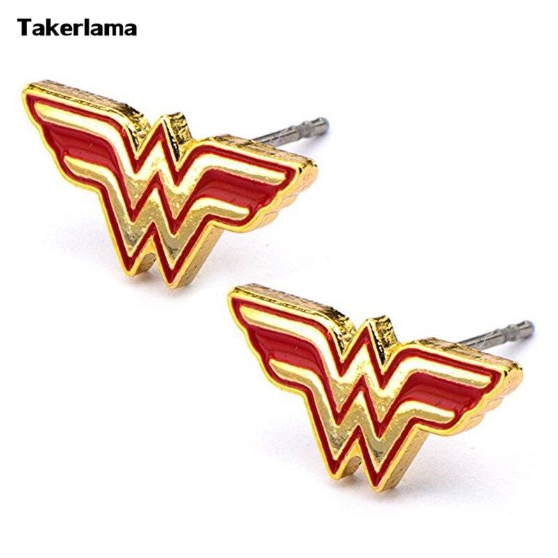 Takerlama A Pair(2pcs) DC Comics Womens Wonder Woman Logo Cosplay Stud Earrings (Red & Gold Tone) Cosplay Accessories