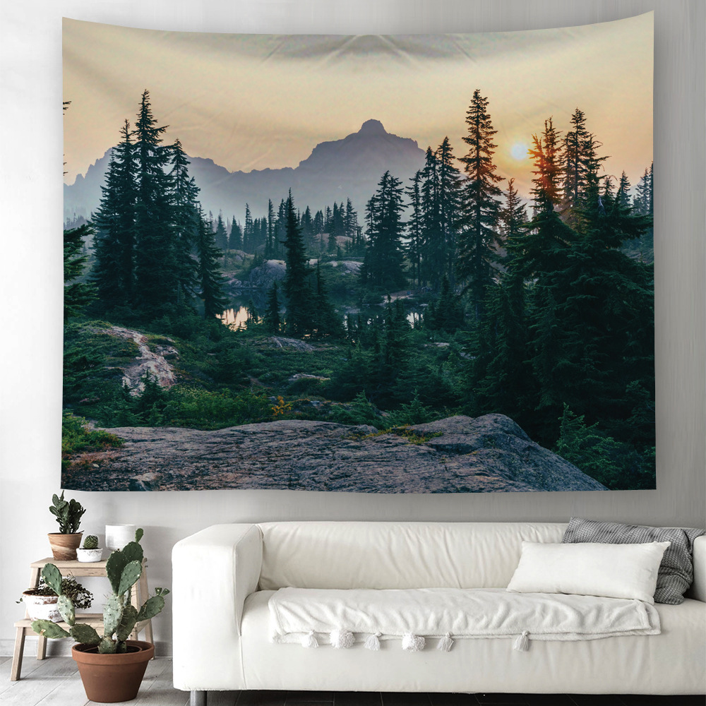 Lake and Mountain Forest Tapestry Landscape Wall Hanging Forest Home Wall Decor