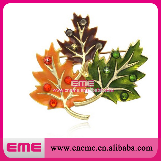 Fall Maple Leaves Pumpkin Rhinestone Brooch Pin for  Thanksgiving Jewelry
