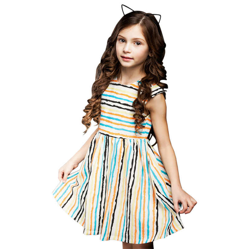 e617b0797dc От 3 до 12 лет в полоску для девочек праздничное платье Детская одежда 2018  новое летнее