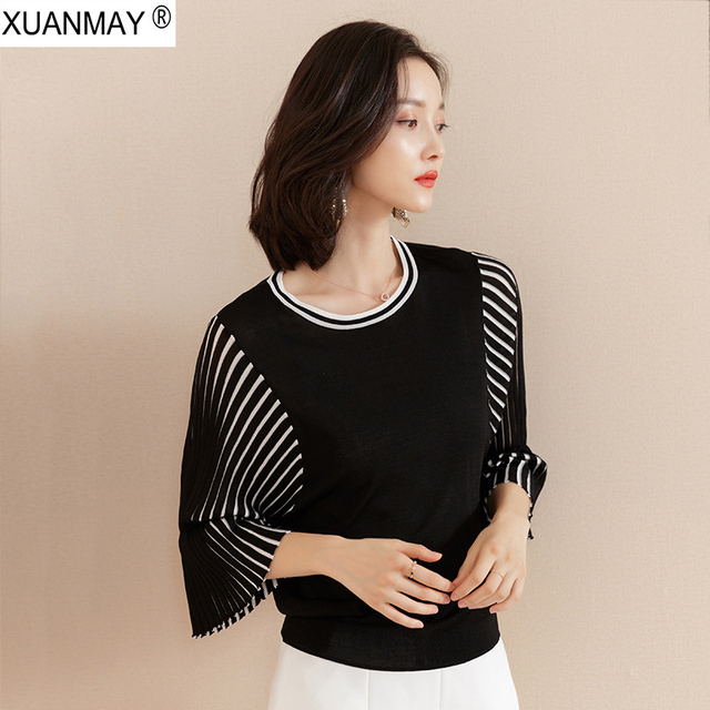 האביב למעלה למעלה נשים 2019 חדש רופף מקרית קוריאנית Pullover סוודר רזה שחור פסים קיץ אופנה לסרוג סוודר רך נשים