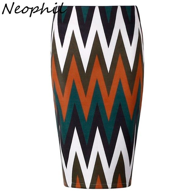 Neophil 2017 Summer Style Ladies Suede Midi Pencil Skirts High Waist Wave Striped Pattern Print Sexy Office Work Wear Saia S1234