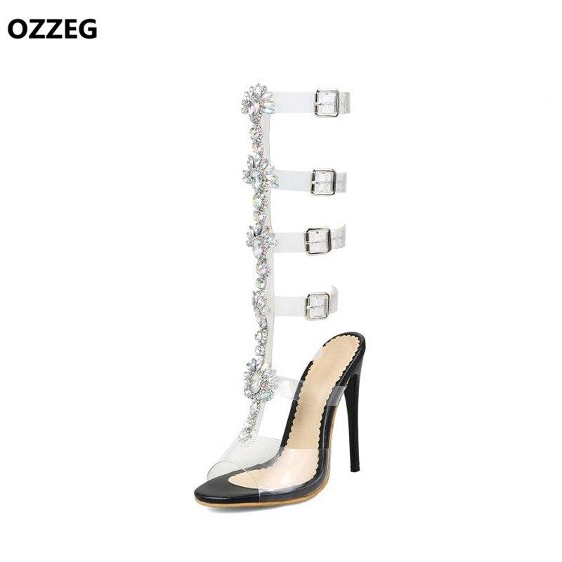 Frau Kniehohe High Size34 Rom Schuhe 2018 Sommer Transparent Big schwarzes Sandalen Heels Dame 44 weiß Partei Beige Frauen Gladiator Kristall Schnalle 8axq8APX