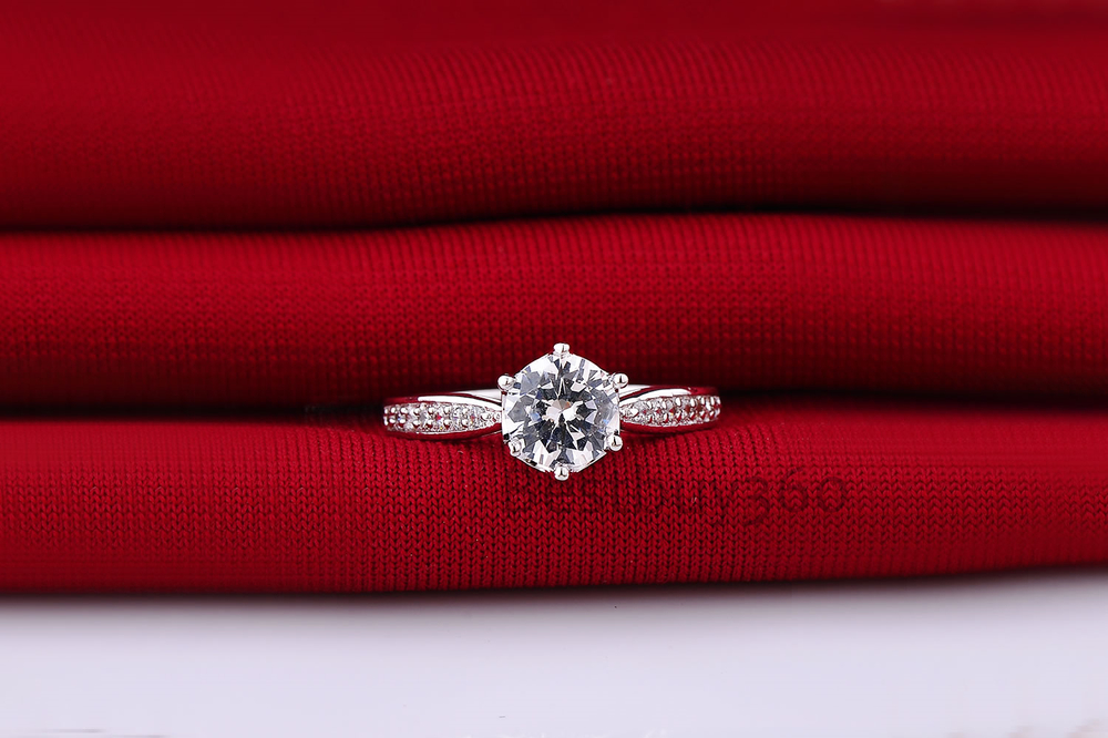 1 carat classic large simulated diamond wedding marriage ring sterling 925 solid silver ring jewelry (BB)