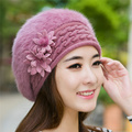 2016  Fashion New Women Hats Autumn And Winter Rabbit Fur Skullies & Beanies Knitting Warm Hat Elegant Ladies Beret Hats