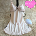 2017 New Tainy Silk Above Knee, Mini Spaghetti Strap Summer Bow Nightgowns & Sleepshirts With Chest Pad