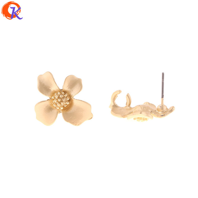 Cordial Design 100Pcs 18*20MM Jewelry Accessories/Earring Stud/Matte Gold/Flower Shape/DIY Making/Hand Made/Earring Findings