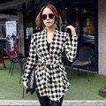 GZDL Женская Мода Осень Пальто Куртки С Длинным Рукавом Хаундстут Случайные Открытым Стежка Тонкий Пояс Кардиган Верхняя Одежда Clothing CL0271