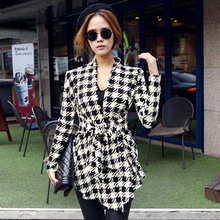 GZDL Fashion Women Winter Jacket Coat Long Sleeve Houndstooth Autumn Casual Clothing Slim Belt Peplum Cardigan Outerwear CL0271