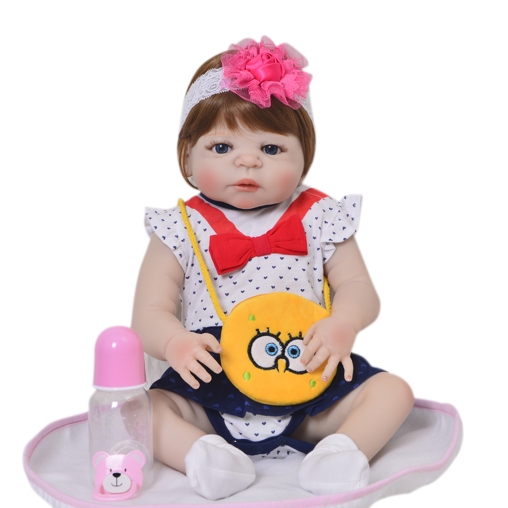 23'' Newborn Doll Full Silicone Vinyl Body Realistic Reborn Baby Dolls New Arrvial Kids Playmates Baby Girl Brinqundos For Gifts 23 lifelike reborn baby full silicone body baby born girl vinyl baby toys real newborn dolls hot sale kids playmates gifts