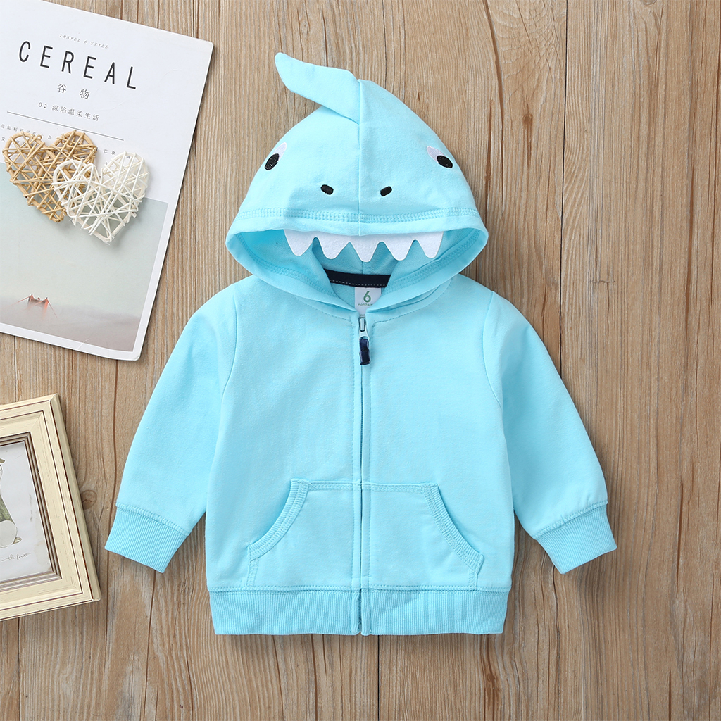 cartoon shark baby boy set long sleeve hooded coat blue+bodysuit+pants stripe 2019 autumn fashion babies outfit newborn clothes
