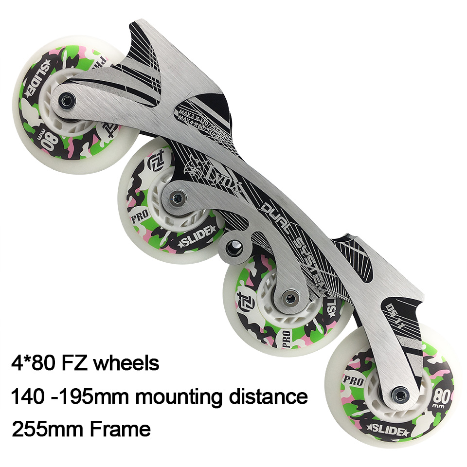 4 80mm Free Skating Inline Skate Base Set 150 195mm Dinstance Frame ILQ 9 Bearing Wheels