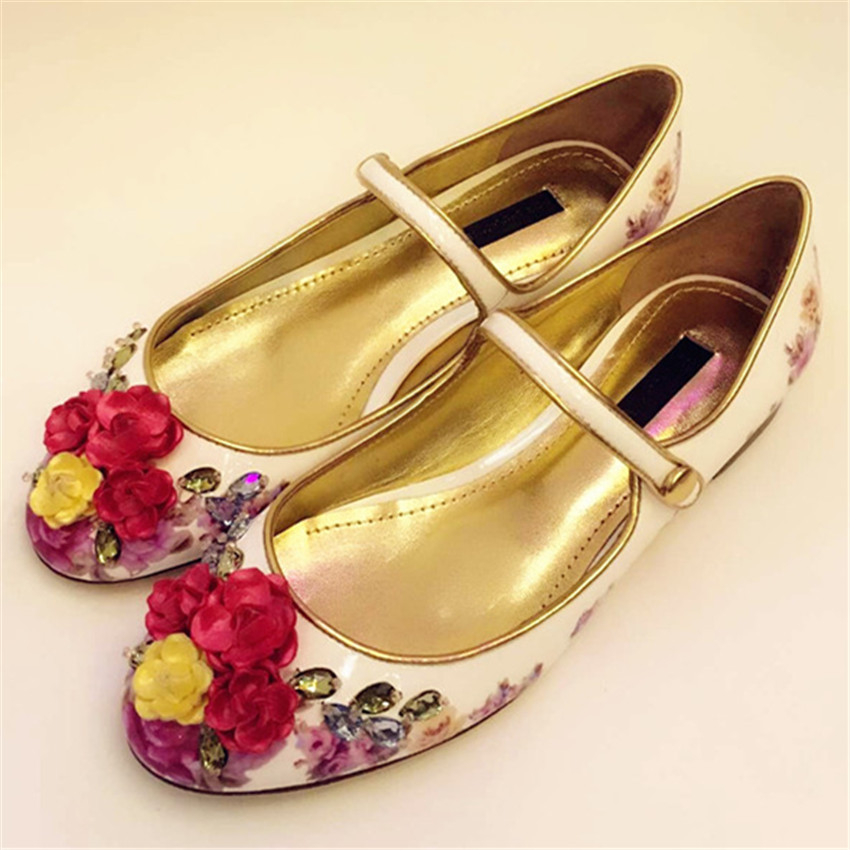 Moda Nuevo Estilo Mujeres Zapatos de Ballet de La Vendimia Flores Imprimir Pisos Casual Shoes Rhinestone