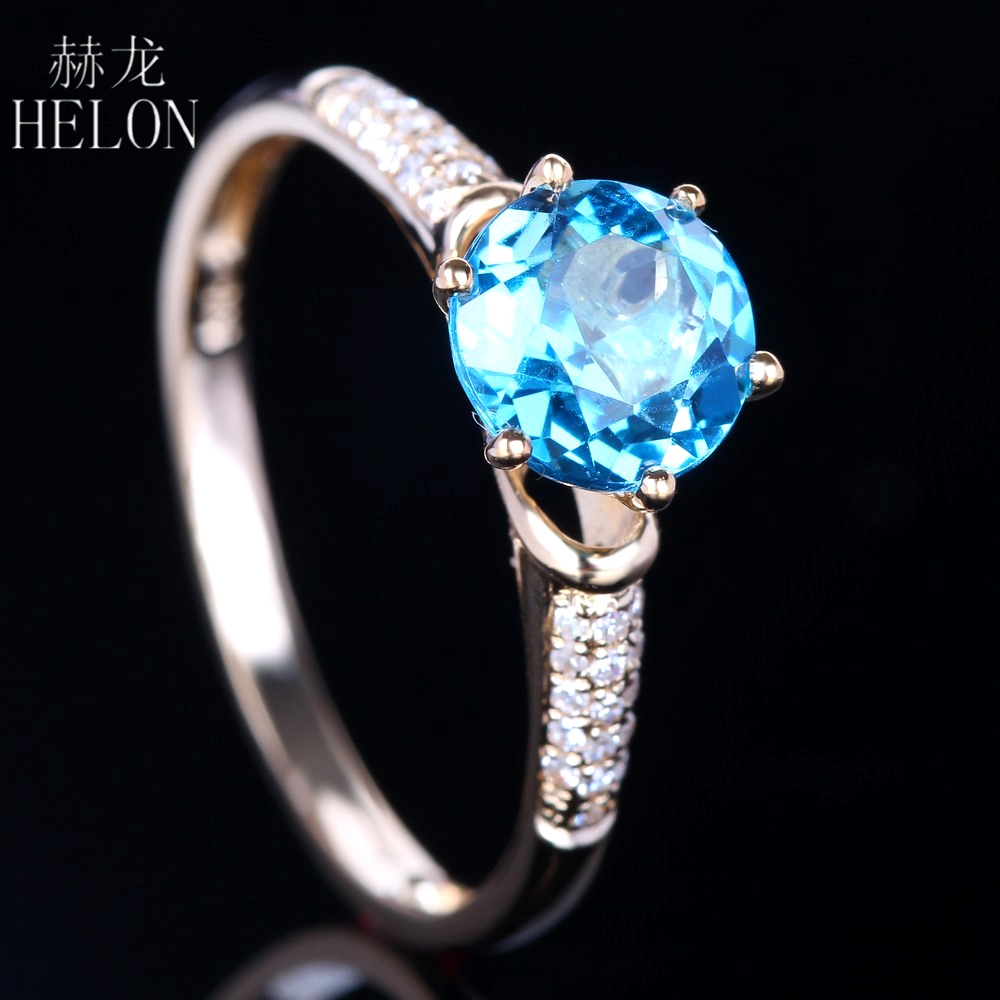 HELON 6.5mm Round Genuine Blue Topaz Ring Solid 14K Yellow Gold Natural Diamonds Engagement Wedding Ring Women Trendy Jewelry solid 14k rose round 13mm gold diamond natural blue topaz ring wedding ring hot sale