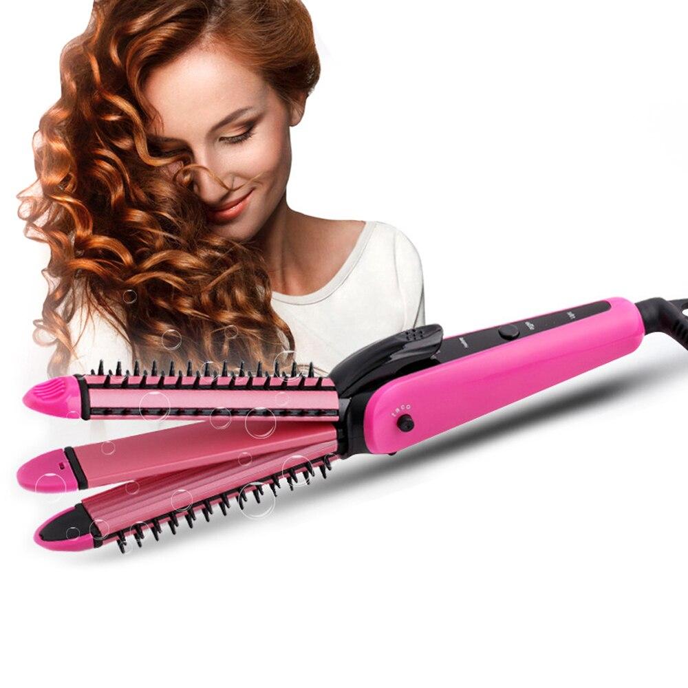 3 en 1 pelo eléctrico enderezadora profesional enderezar hierro corrugado cerámico plancha de pelo y rizado pelo
