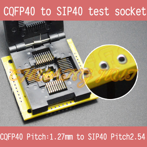CQFP40 to SIP40 test socket CQFP40/QFP40 1.27mm to SIP40 2.54mm ic socket qfp40 ic test conversion chip ic programming block qfp40
