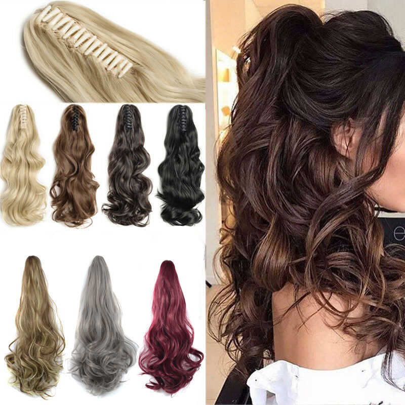 Synthetic Women Claw on Ponytail Clip in Hair Extensions Curly Style Pony Tail Hairpiece Black Brown Blonde Hairstyles
