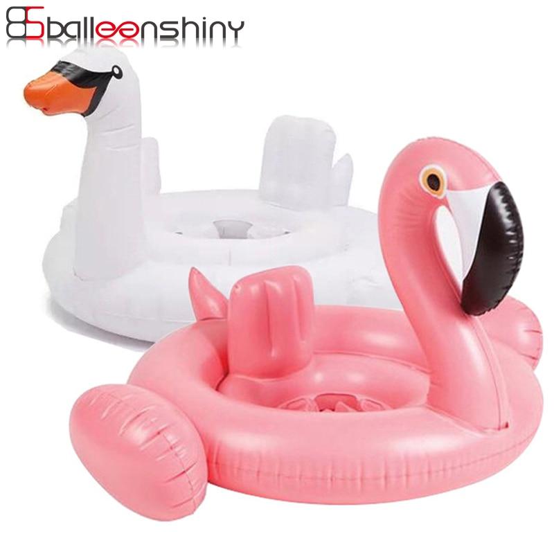 BalleenShiny Baby Swimming Float Toys Inflatable Flamingo White Swan Swim Toys Summer Water Fun Pool Swimming Tool Kids Gift Toy