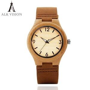 Image 2 - Bamboo Wood Watch Women watches ladies clock leather watchband Wristwatch Luxury Brand relogio femininos 2020 Quartz Watch