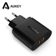 Aukey Быстрый Зарядное устройство 3.0 USB Зарядное устройство 2-Порты и разъёмы 36 Вт быстрый мобильный телефон Зарядное устройство (QC2.0 совместимый) для Samsung Xiaomi Motorola Nexus 6