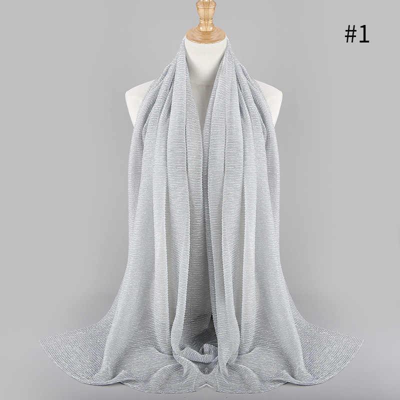 e883d6c7ed47 ... Fashion Islamic turban Muslim Women Gold Wrinkles Shawl Hijabs Scarves  Arabian Dubai hoofddoek tulband Headscarf 75x180cm ...
