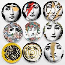 8 inches Piero Fornasetti Decorative Collector Plate Hanging plates Western Milan style Tema e Variazioni Porcelain Wall Plates