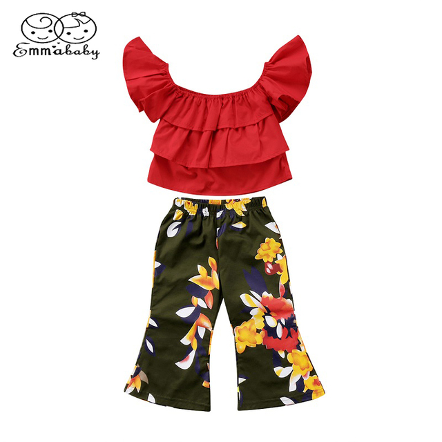 d56413741f9 Emmababy Summer Sexy Baby Top Clothing Toddler Kids Girls Off Shoulder Tops  Shirt+Floral Print Pants 2Pcs Outfits Set Clothes