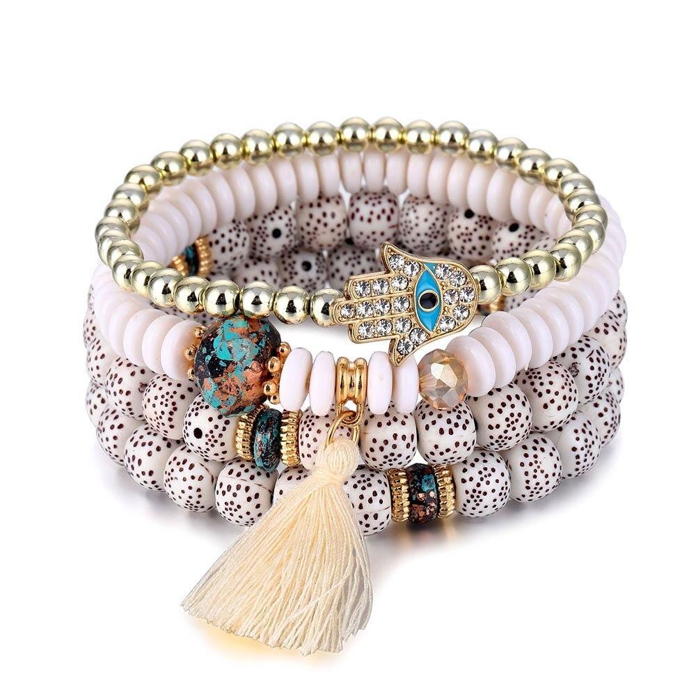 17IF Islam Muslim Hand of Fatima Bracelet Set For Women Tassel Charms Beads Bracelets & Bangles Set Jewelry pulseras mujer moda