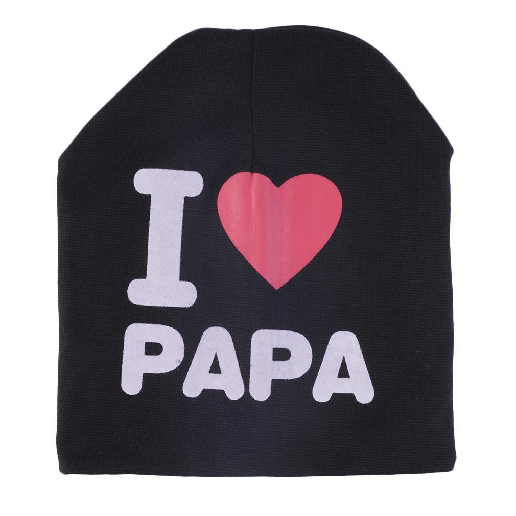 JAMOHT Spring Autumn Baby hats Knitted Warm Cotton Beanie Hats For Toddler Baby Kids Girls Boy I LOVE PAPA black Print Baby Hats sleep professor spring love