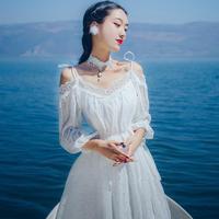 Jesień Otwarte Powrót Plus Size Dot Haft Sukienka Lato Ramię Off Koronka Szyfonowa Sukienki Party Długie Suknie Biały