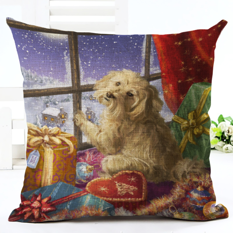 Cartoon Colorful Style Cute Dog sled Print Cushion Decor Cojines Seat Throw Pillow Printed Cotton Linen Square
