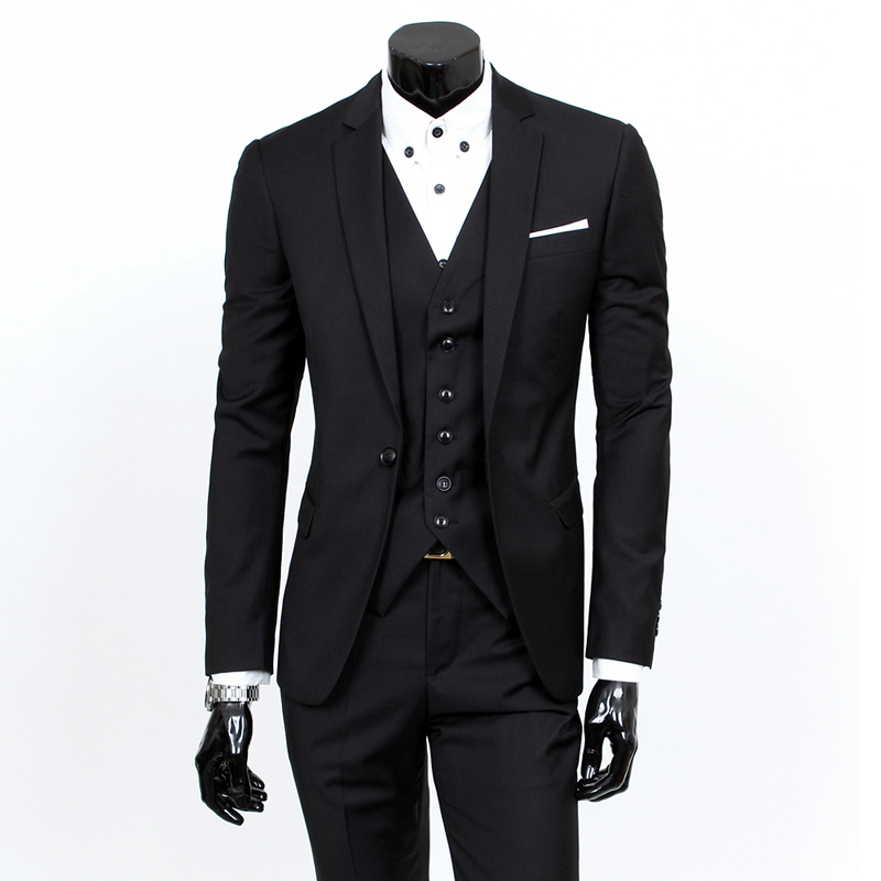 Male Fashion Boutique A Three-piece Suits Jacket Blazers / Men's One Button For Business Suit Sets / Male Pants +vest Waist Coat